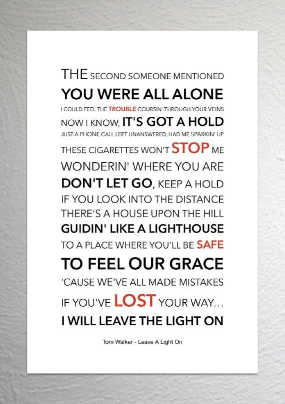 Tom Walker Leave A Light On Lyric Art Poster A4 Size Me Too Lyrics Love Yourself Lyrics Thank You For Loving Me