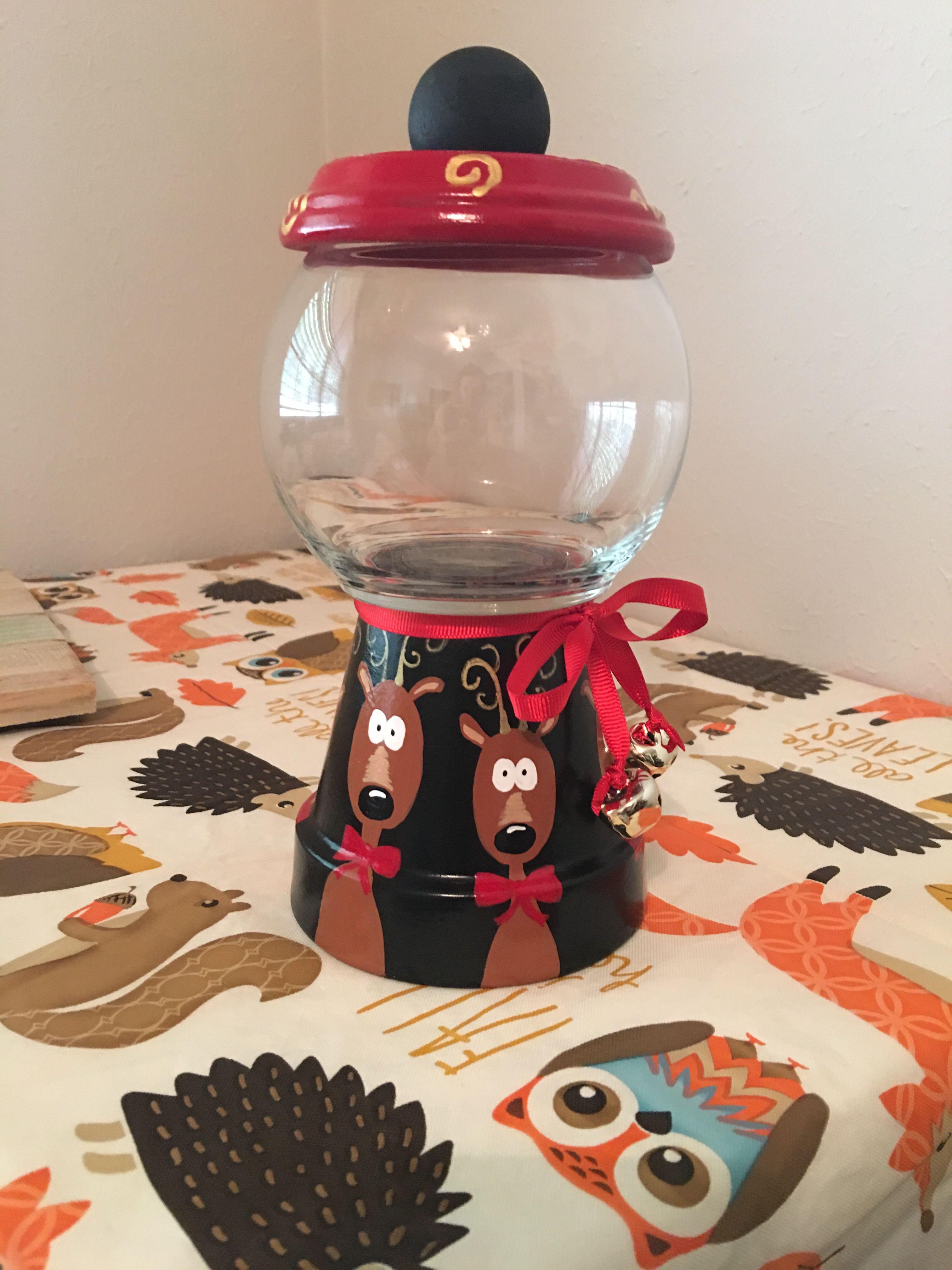 Reindeer Terra Cotta Pot Candy Jar Christmas Jars Christmas Pots Christmas Clay