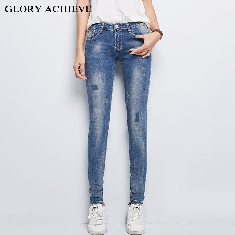 Ripped Jeans For Women Skinny Denim Capri Jeans Femme Stretch Female Jeans  Vaqueros Mujer Slim Pencil b49fe7f4c314