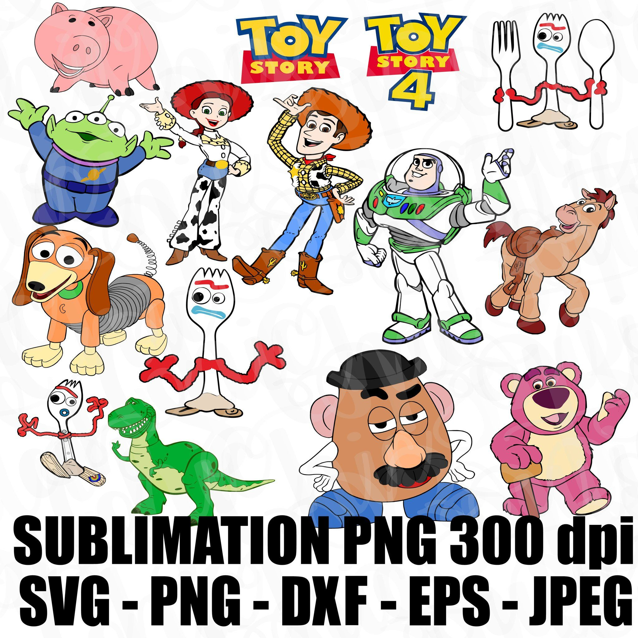 Woody Forky Toy Story 4 Logo Characters Svg Jpeg High Def 300dpi Png Dxf Eps Sublimation Iron On File Topper Stack Able Printable Layer Able In 2020 Logo Character Svg Png