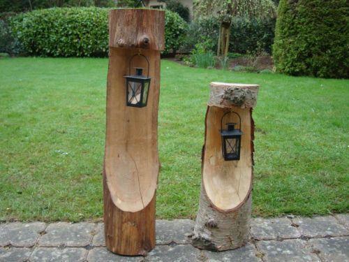 Deko Aus Baumstämmen handgefertigte dekoration natur baumstamm mit kerzenlaterne