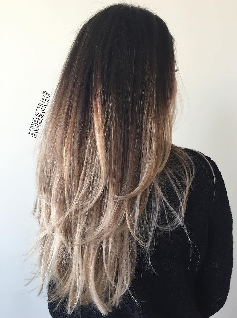 Black To Ash Blonde Ombre Hair Ash Blonde Ombre Hair Black Hair Ombre Long Layered Hair