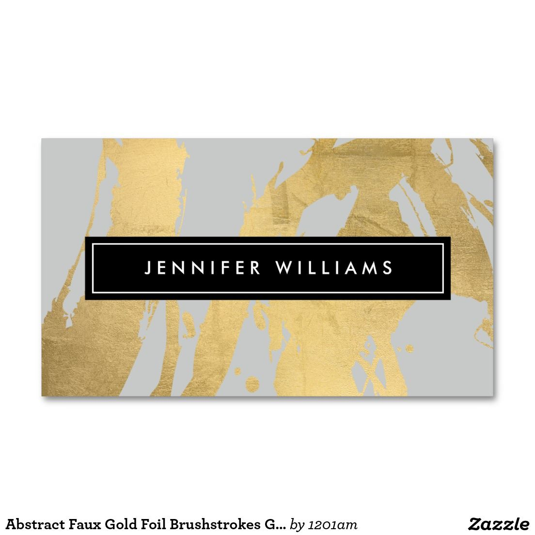 Abstract Faux Gold Foil Brushstrokes Gray Business Card - Double ...