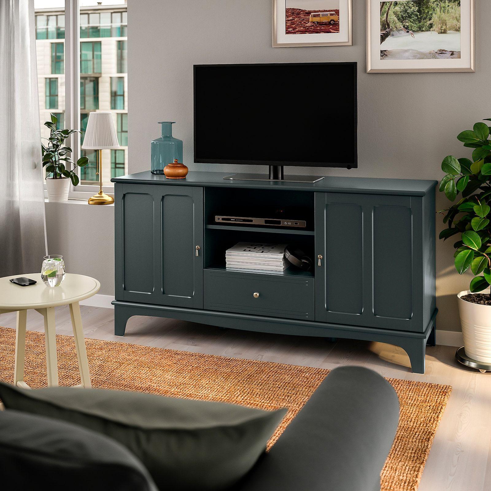 Lommarp Dark Blue Green Tv Bench 159x45x81 Cm Ikea Tv Bench Tv Unit Dark Blue Green