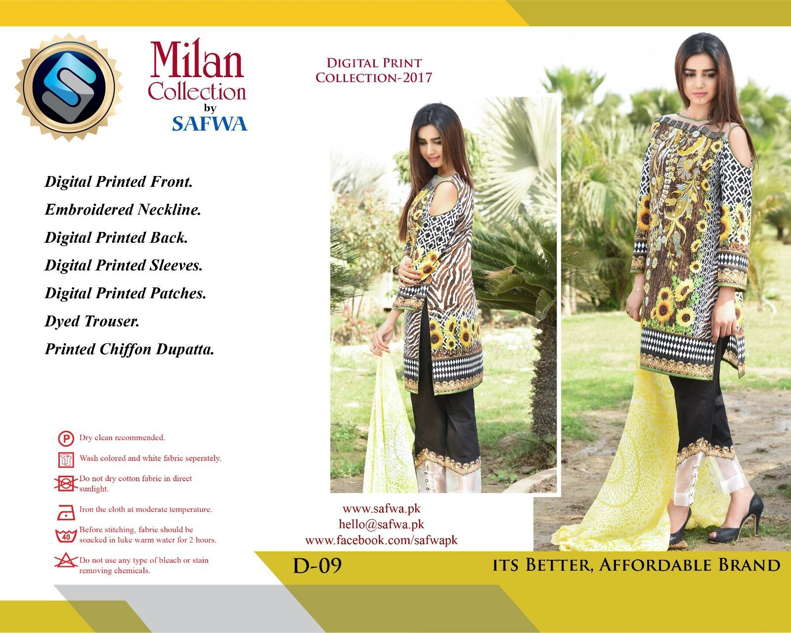 D-09 - safwa digital - milan collection - embroidered - 3 piece suit ...