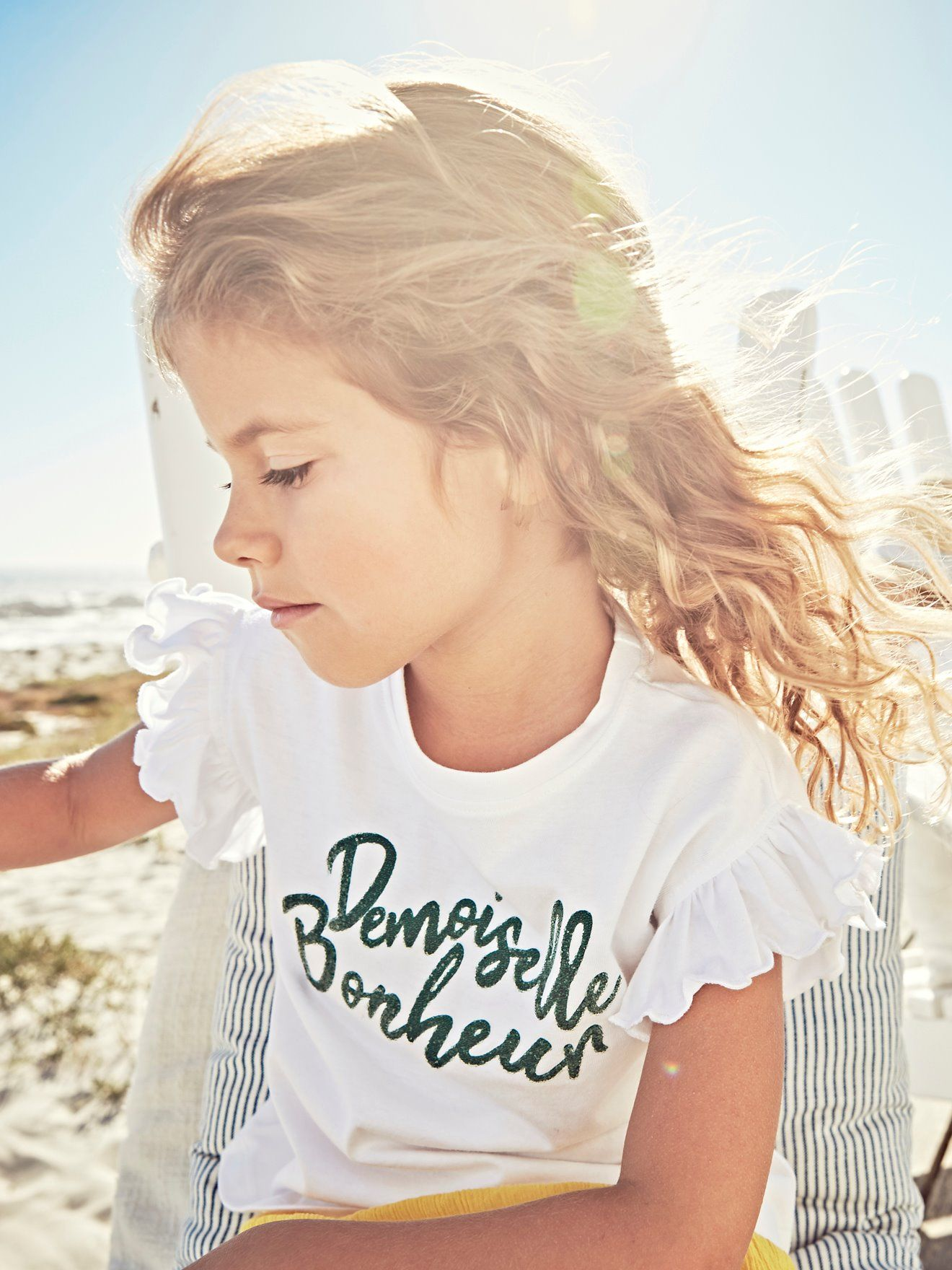 8df9b56bf923a T-shirt fille à volants message en relief fantaisie - blanc in 2019 ...
