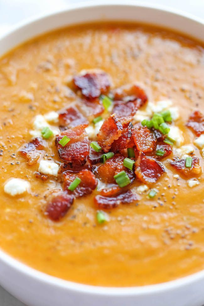 Roasted Butternut Squash and Bacon Soup - Damn Delicious