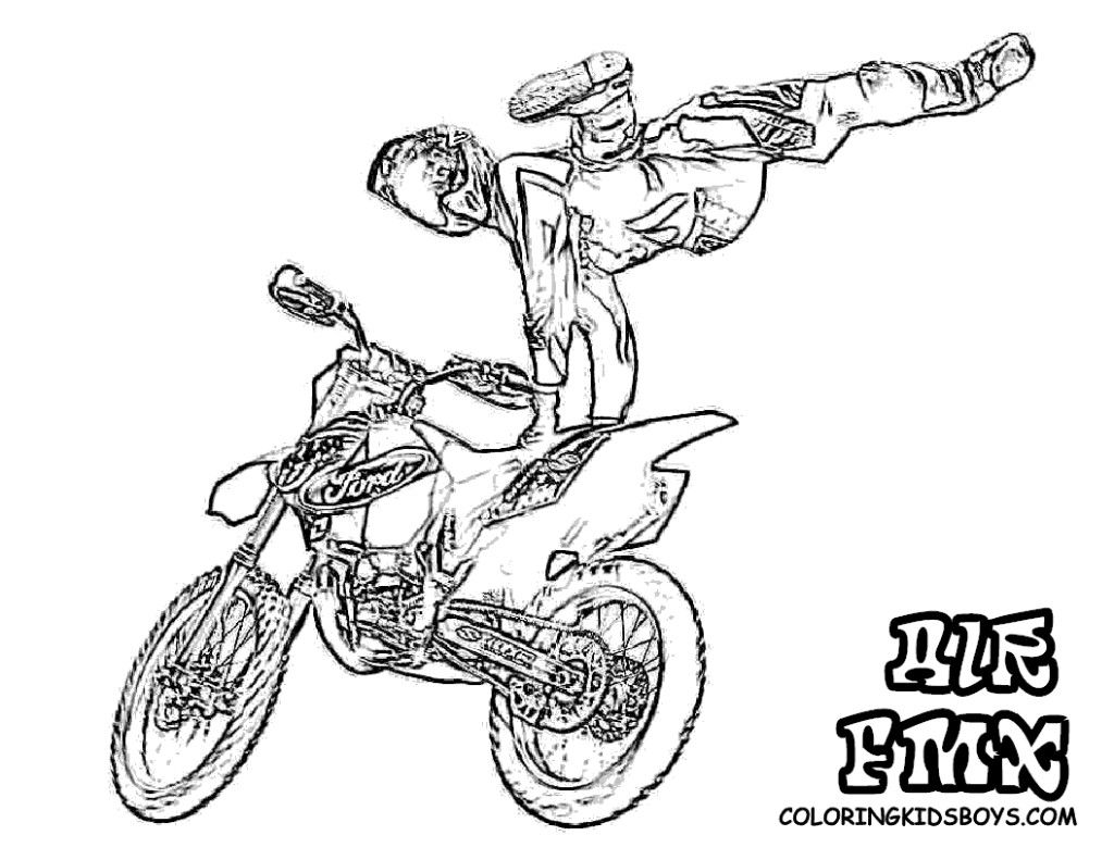 dirt bike coloring page | Bike drawing, Coloring pages for ...