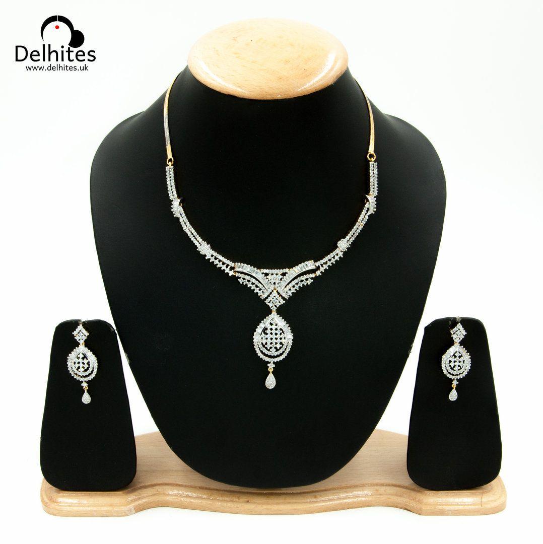Damini contemporary jewellery set cubic zirconia contemporary