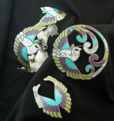 Bracelet, Brooch, earrings   Margot de Taxco.  Sterling silver and enamel. ca. 1955 - 1978. Taxco / Mexican