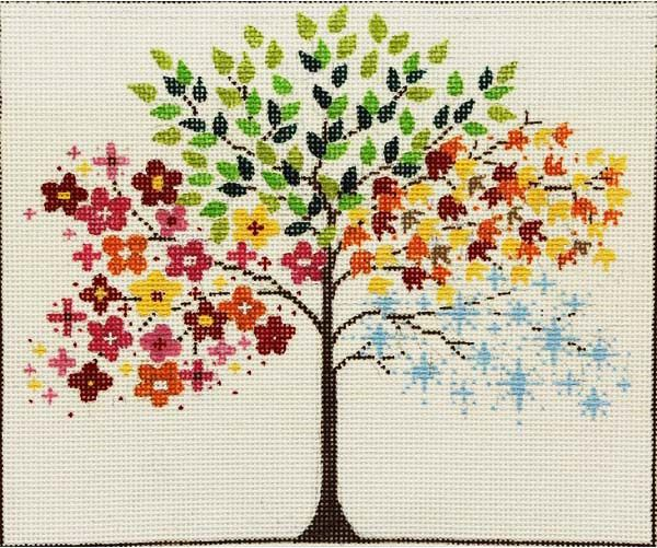 """Aug. 10 & 24 from 10:00 - 4:00 SEASONAL TREE Mark you calendar for this class! This Seasonal Tree is 10"""" x 8.5"""". To enhance this canvas, you will learn ribbon techniques, beading, Wonder Thread techniques as well as choices for the background."""