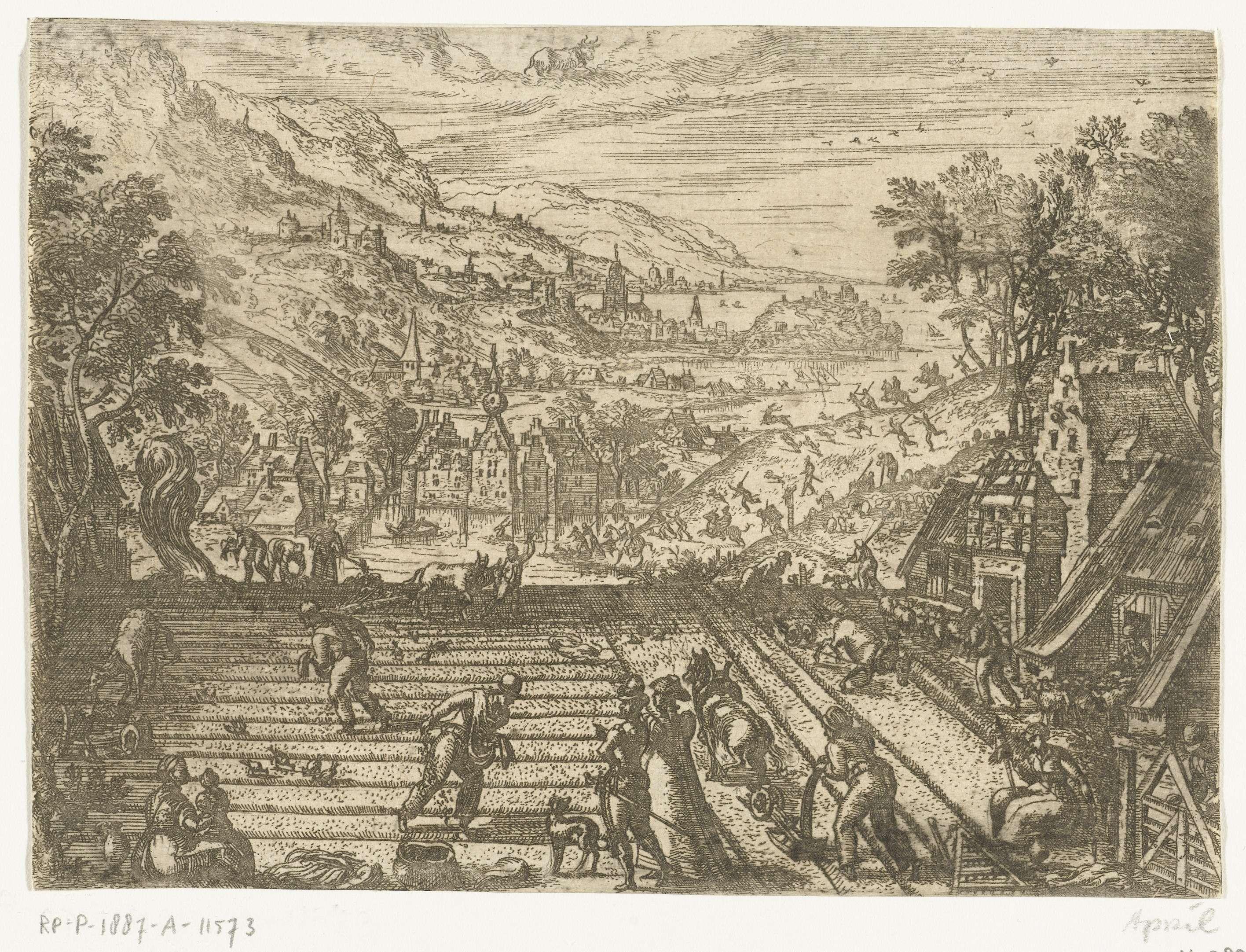 Pieter van der Borcht (I)   April, Pieter van der Borcht (I), 1545 - 1608   Lentelandschap met voorjaarstaferelen. April is de grasmaand. Op de voorgrond wordt geploegd en gezaaid. Herders laten hun schapen weer buiten grazen. In de achtergrond is een hertenjacht aan de gang. Middenboven het sterrenbeeld Stier. In deze serie van de twaalf maanden wordt elke maand afgebeeld met de voor haar typerende menselijke activiteiten, haar klimatologische kenmerken en haar sterrenbeeld