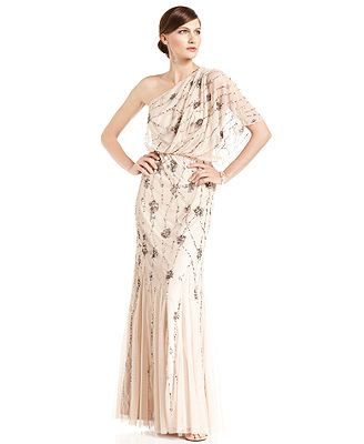 Adrianna Papell Dress, Short-Sleeve One-Shoulder Beaded Blouson Gown ...