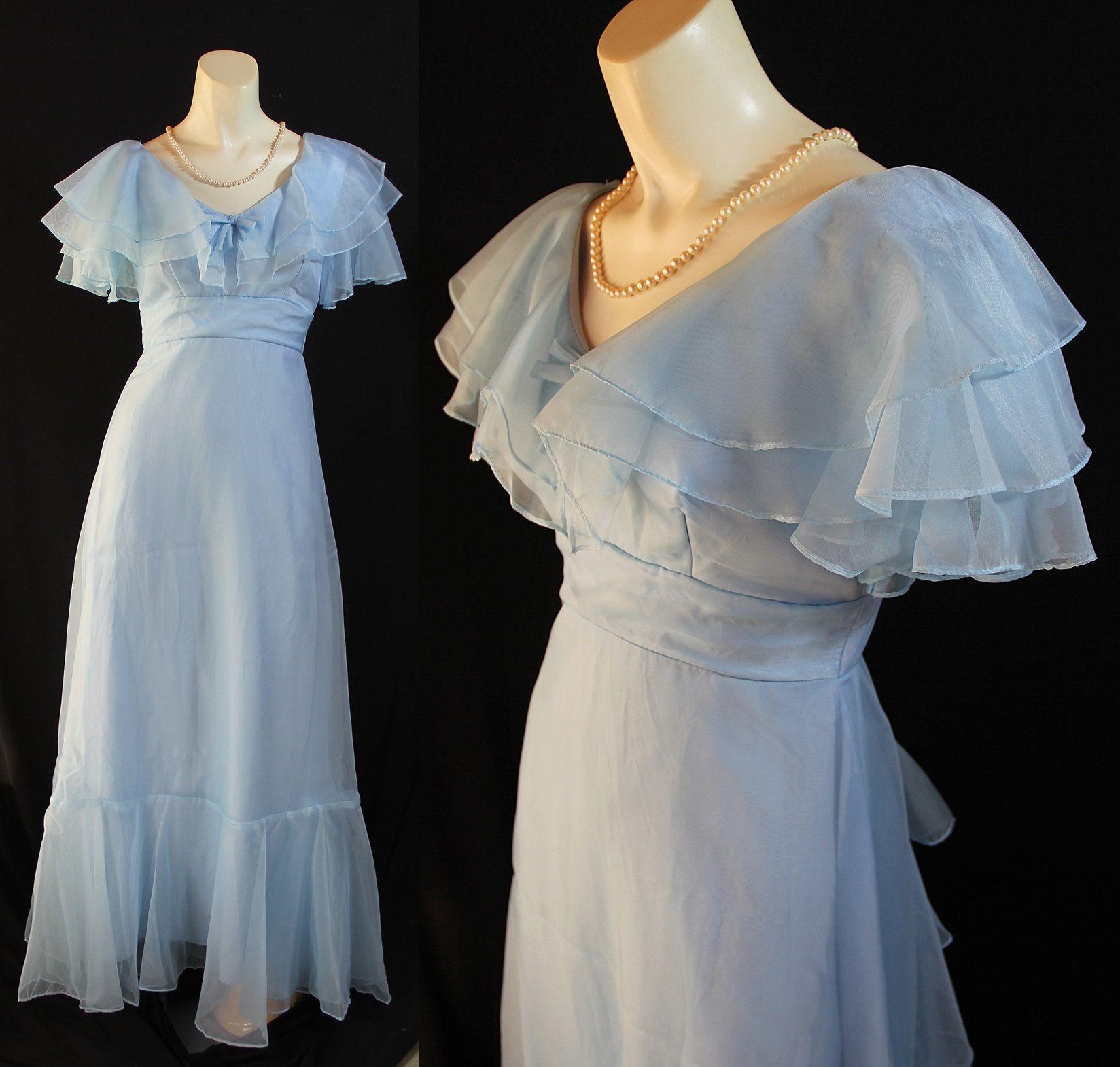 Vintage Maxi Dress Blue Wedding Southern Belle 70s Prom Etsy Vintage Maxi Dress Prom Dress Inspiration Dresses [ 1570 x 1648 Pixel ]