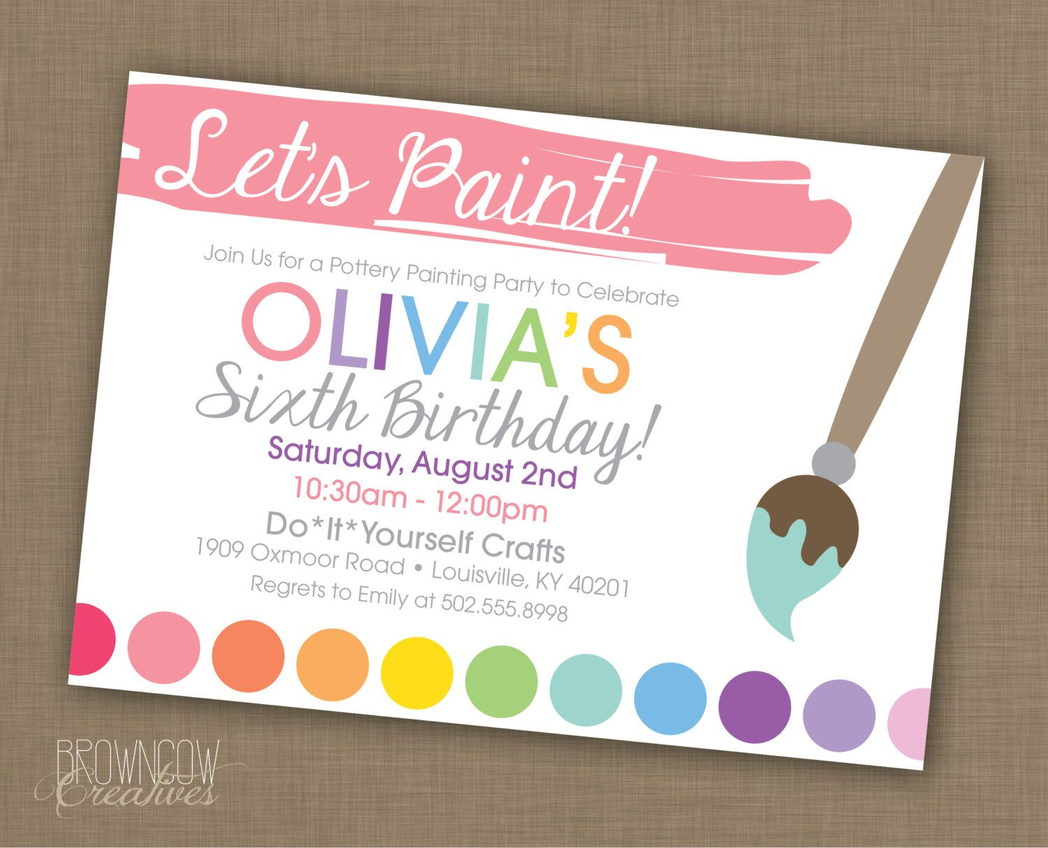 PRINTABLE Painting Party Customized Invitation by BrownCowCreatives ...