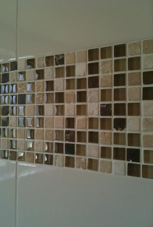 White 6x6 Ceramic Wall Tile With A Mixed Mosaic Gl