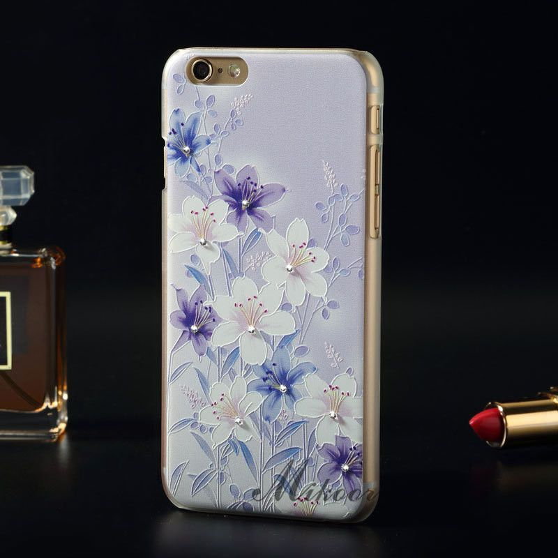 """Luxury Fashion Floral Painted Bling Rhinestone sFor Apple iPhone 6S 6 iPhone6 4.7"""" Case For iPhone 6S 6 Flower Phone Case Cover"""