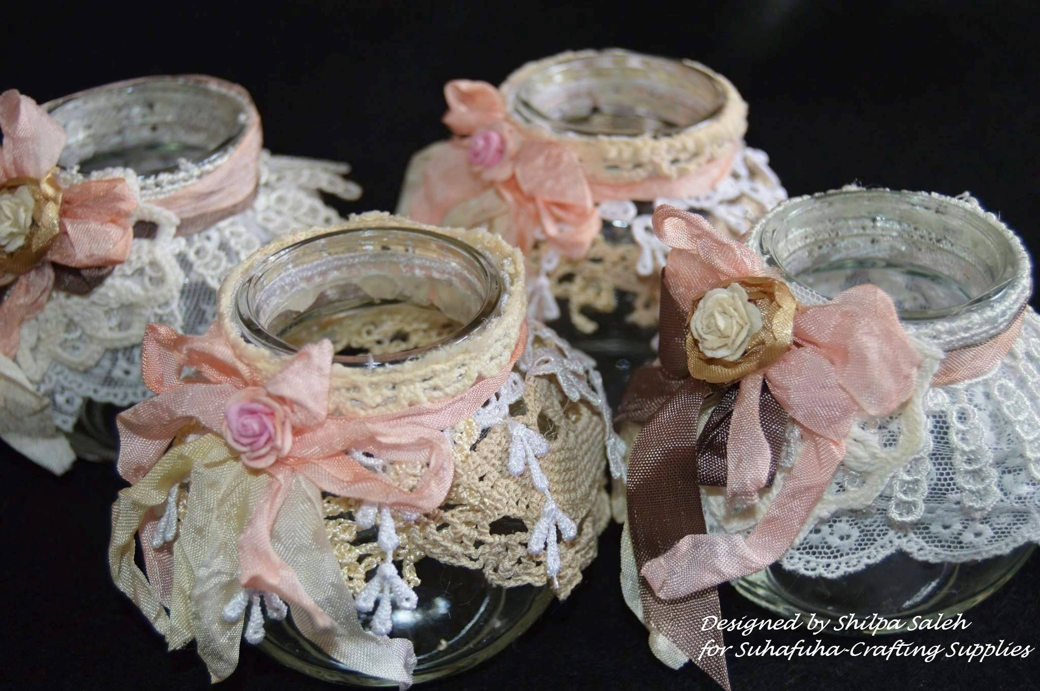 Shabby Chic Jars, Decorated With Beautiful Lace From Suhafuha Etsy
