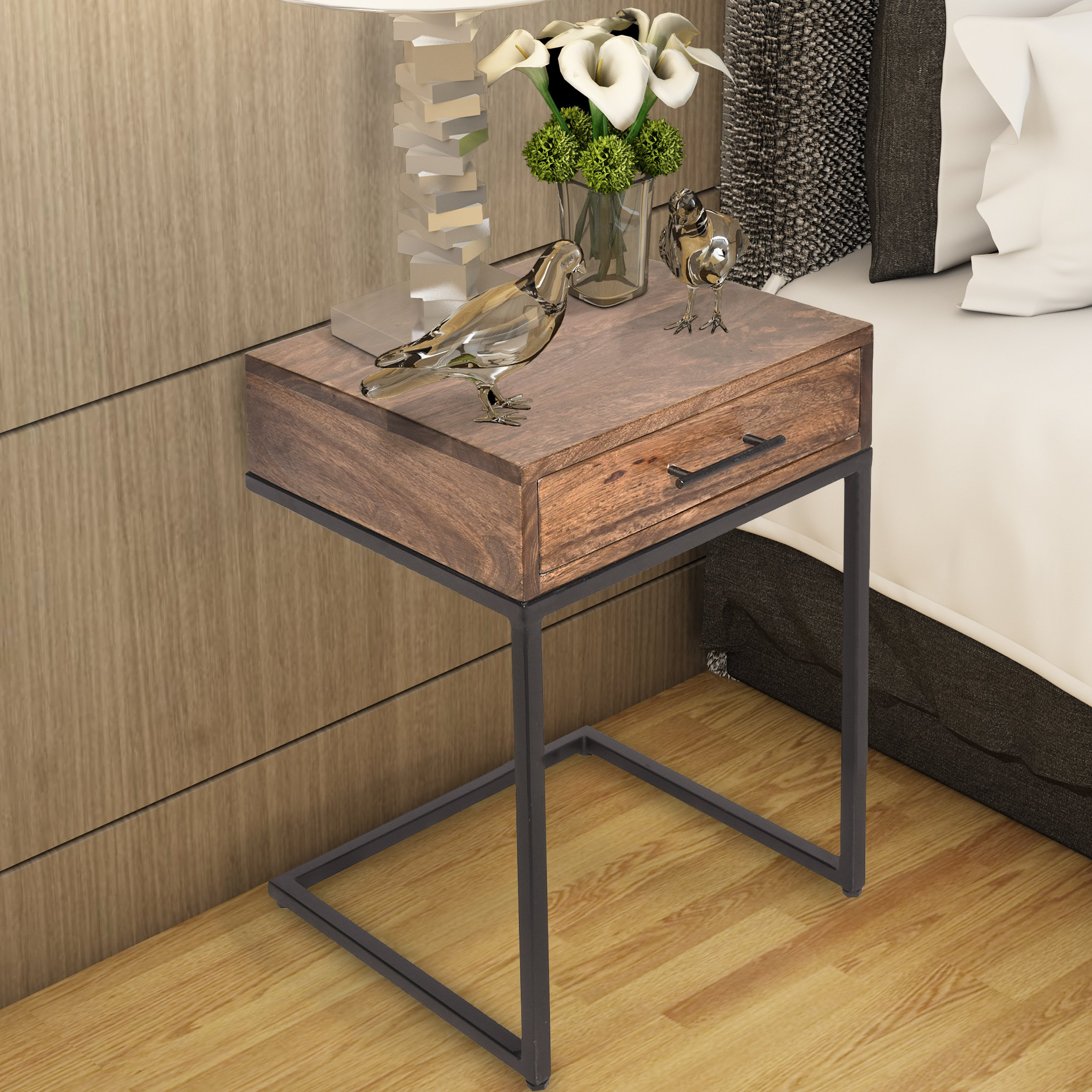 Mango Wood Side Table With Drawer And Cantilever Iron Base Brown And Black Side Table Wood Side Table With Drawer Wooden Side Table