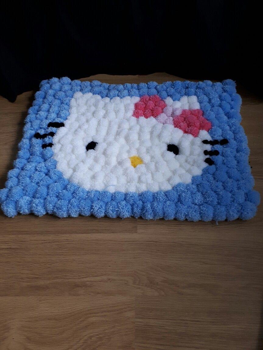 Hello Kitty pom pom rug | Rag Rugs | Pinterest | gewobener Teppich ...