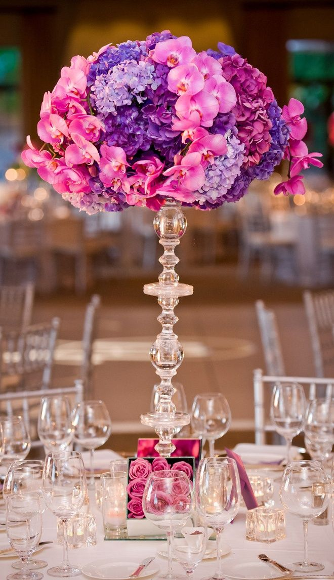 Get Creative With Vases Purple CenterpieceFloral CenterpiecesWedding