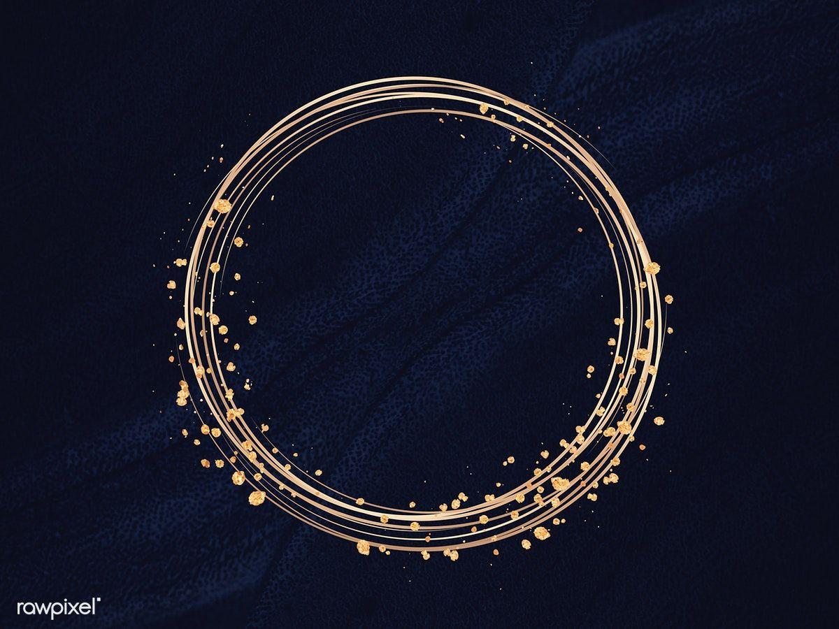 Download premium illustration of Gold circle frame on a