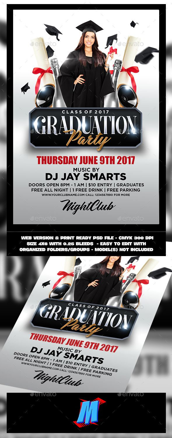 Graduation Party Flyer Template | Flyer template, Party flyer and ...