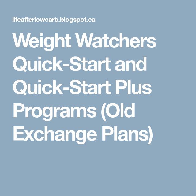 Weight watchers quick start and quick start plus programs old weight watchers quick start and quick start plus programs old exchange plans malvernweather Images