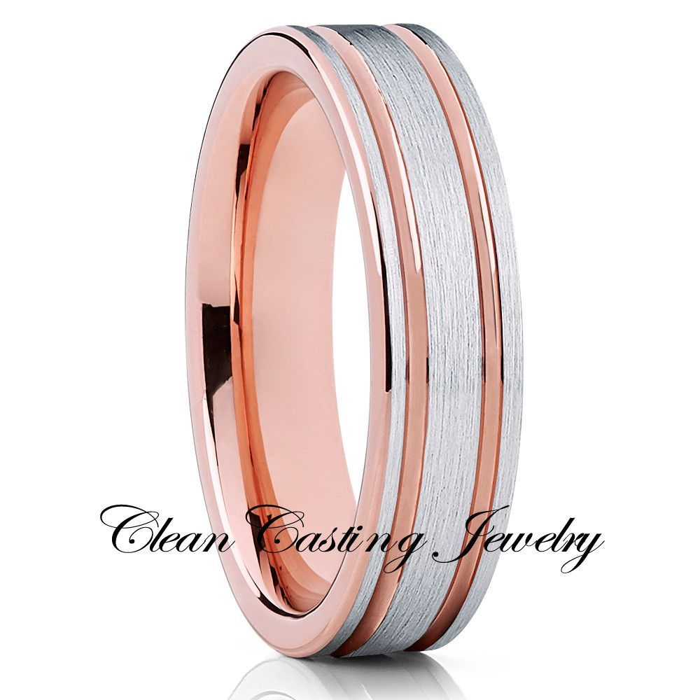6mm - Rose Gold Tungsten Ring - Double Groove - Silver Tungsten Ring ...