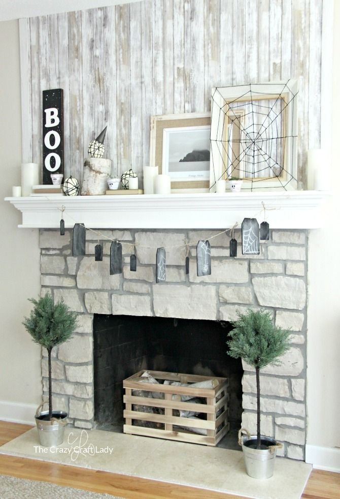 Indoor Halloween Decorations - a Simple Neutral Mantel full of