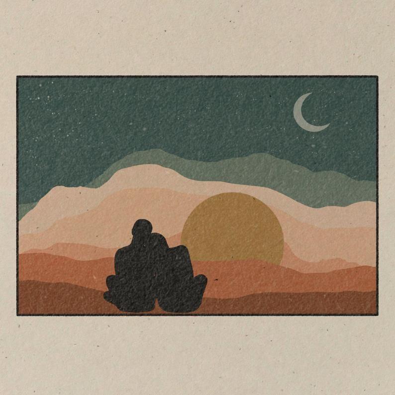 Watch Sunsets || Art Print || Vintage Inspired Art || Inspirational Art || Boho Art Print || Couple