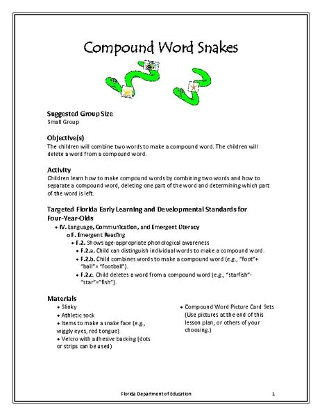 Compound Word Snakes Lesson Plan Lesson Planet mrjunix733 - lesson plan words