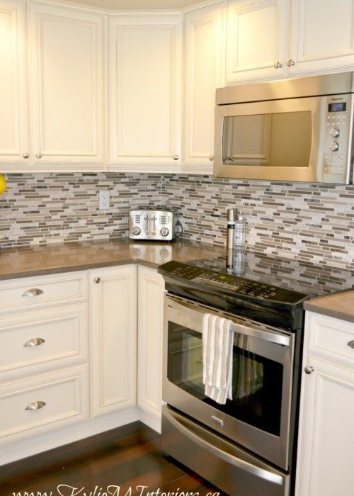 Oak Kitchen Remodel Painted Cream Cabinets And Quartz Dark Wood Glaze And Mosaics