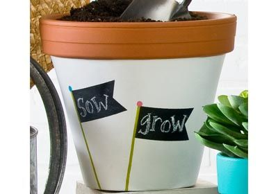 FolkArt Chalkboard Paint Label Clay Pot - made with Handmade Charlotte  Peel & Stick stencils available to buy in-store at major craft retailers #crafts #plaidcrafts #diy