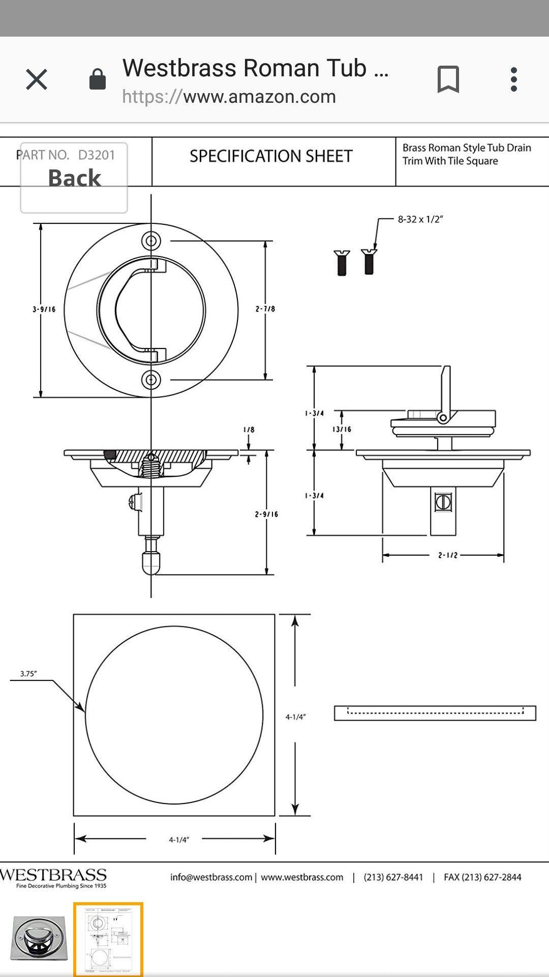 small resolution of roman tub drain westbrass