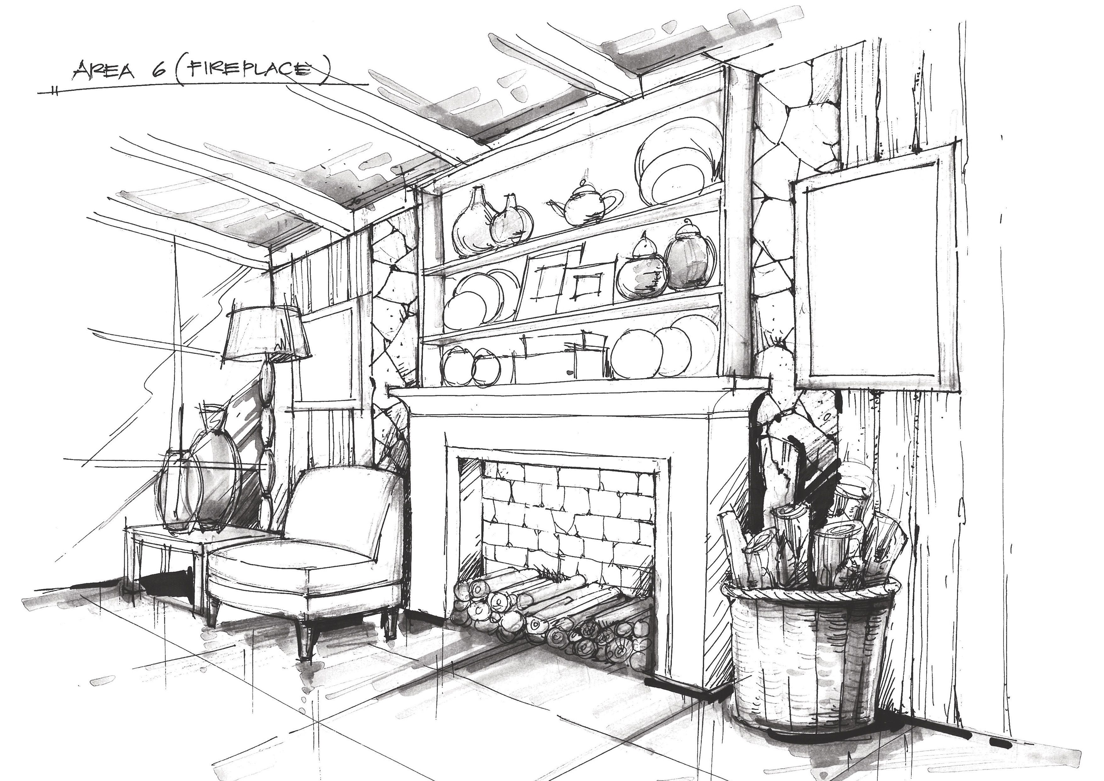 Fire Place Craftsman Interior Sketches Art Reference