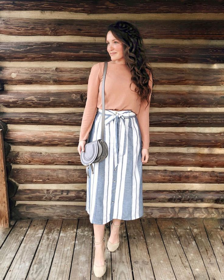 """Courtney Toliver Guthrie on Instagram: """"Last night's church outfit! I adore this striped skirt. It's linked in my bio and it fits true to size. It's so pretty in person! My top is…"""""""