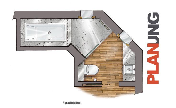 Planbeispiel Bad Badezimmer Pinterest - badezimmer l form