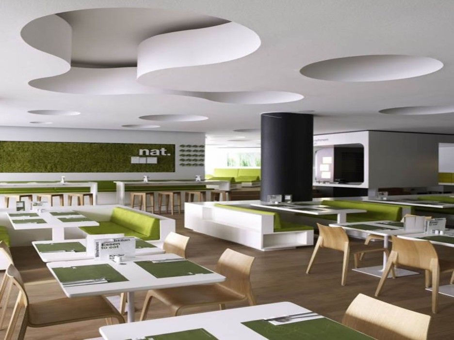 Modern Minimalist Restaurant Design With Green Color Scheme