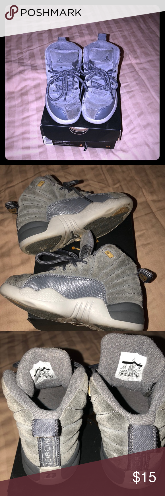 e7348c9053 Jordan 12 Retro Toddler size 11 has water spots on top of right sneaker all  grey