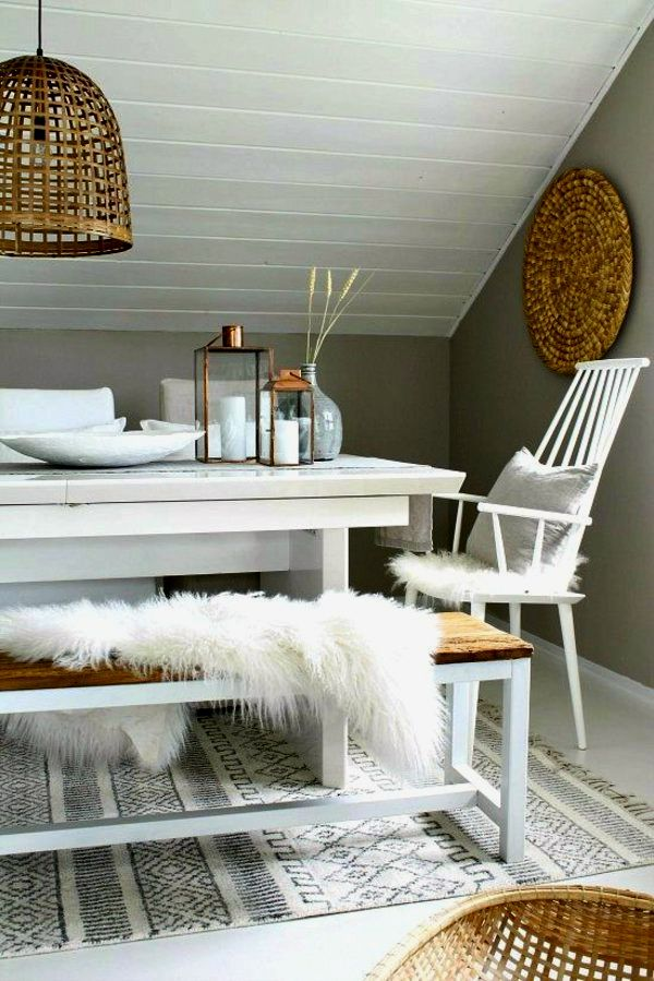 Wohnideen Essecke essecke skandinavisch lammfell weiß holz wohnideen wohnideen