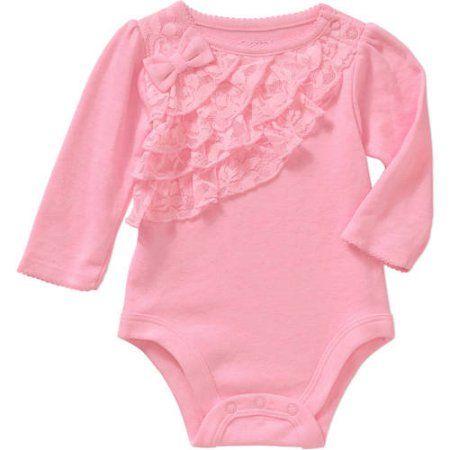 Garanimals Newborn Baby Girl Long Sleeve Lace Ruffle Bodysuit Size