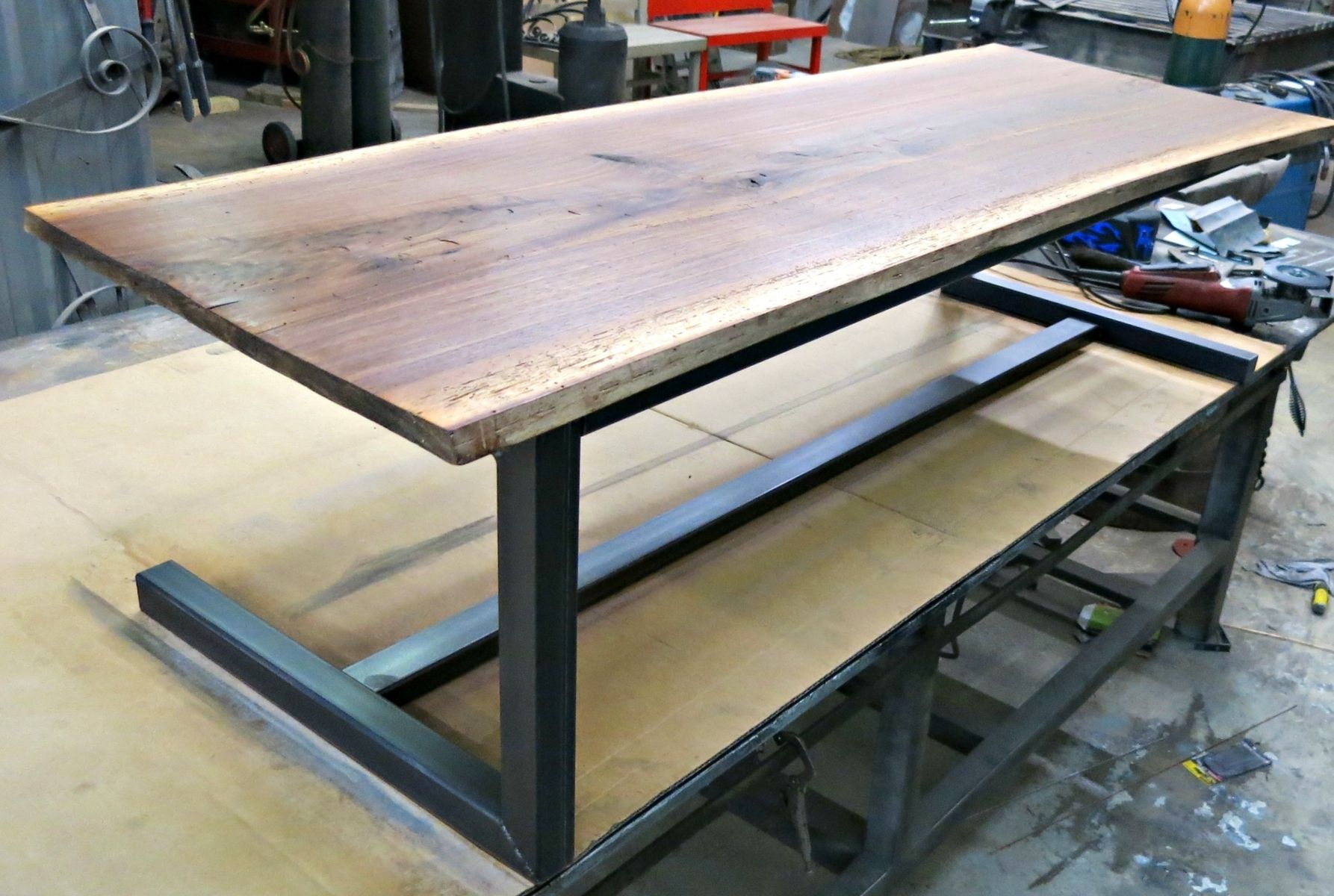 walnut and steel contemporary coffee table wood patio on modern farmhouse patio furniture coffee tables id=91168