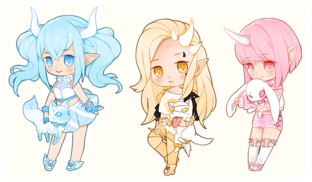 Mini Oni Girls By Nuenie Deviantart Com On Deviantart Chibi Girl Character Art Anime