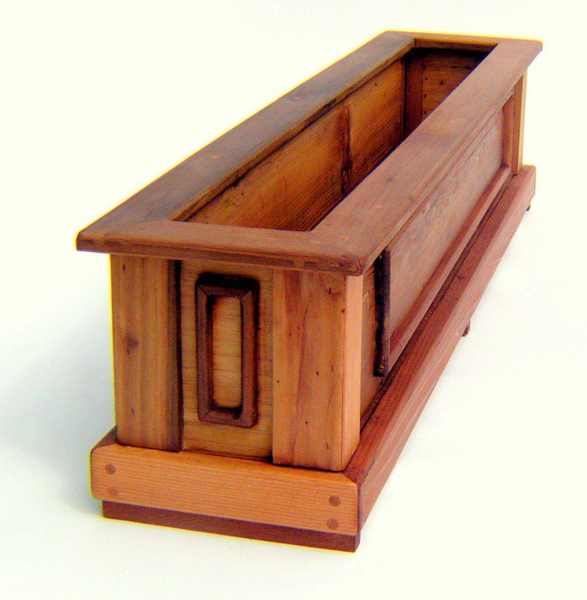 "Carmel Box Planter (Options: 36"" L, 7.5"" W, 9"" H, Mature Redwood, 3/4"" Feet, No Steel Hangers, No fit over railings, No Growing Vegetables, Transparent Premium Sealant)."