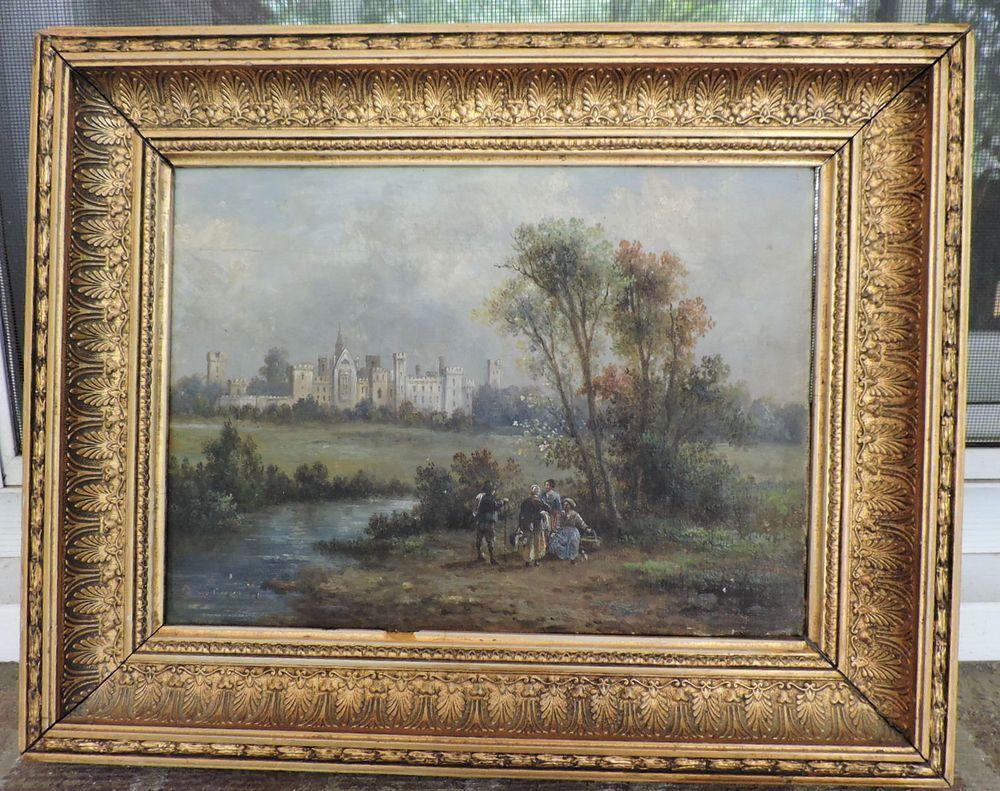 Antique 18 19c Italian Figures Landscape Castle Oil