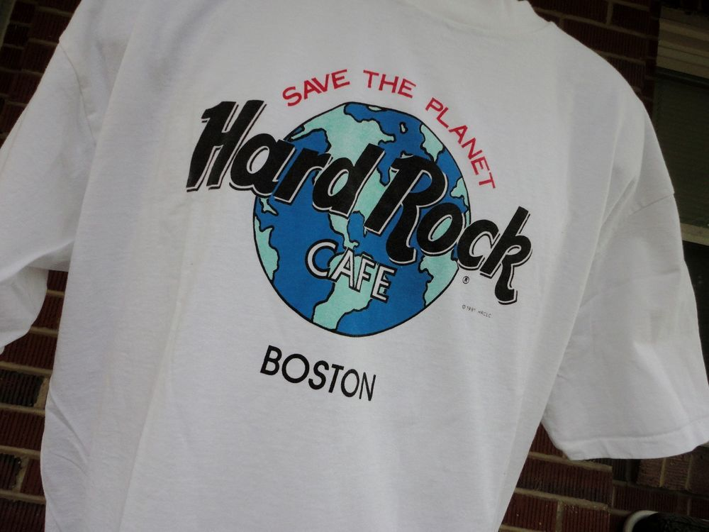 ac16e95c354ac6 VTG Hard Rock Cafe Boston T Shirt White Save the Planet Made in USA   HardRockCafe  GraphicTee