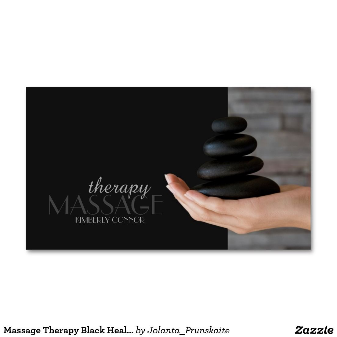 Massage Therapy Black Healing Stones Business Card | Business cards ...