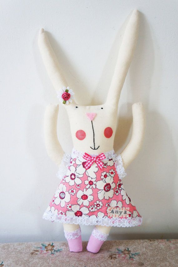 baby personalised bunny rabbit plush perfect for by SewMice