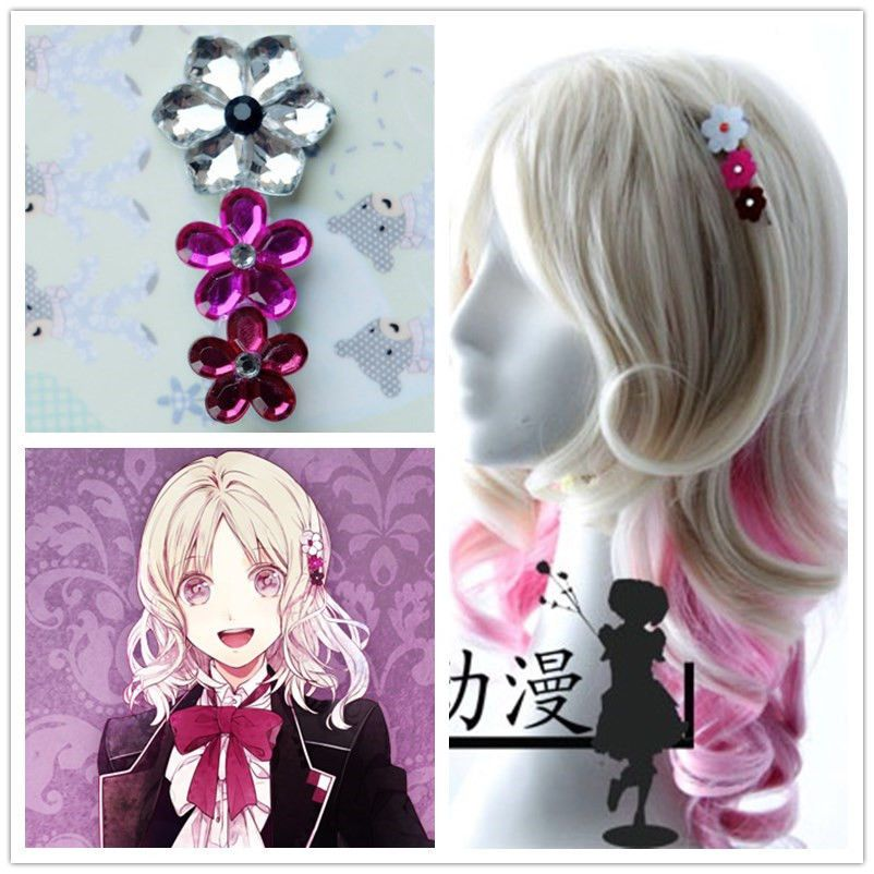 Japan Anime Diabolik Lovers Komori Yui Cosplay Cute Hair Clip Girl Hairpin Kawaii Wigs Hair Clips Girls Diabolik Lovers